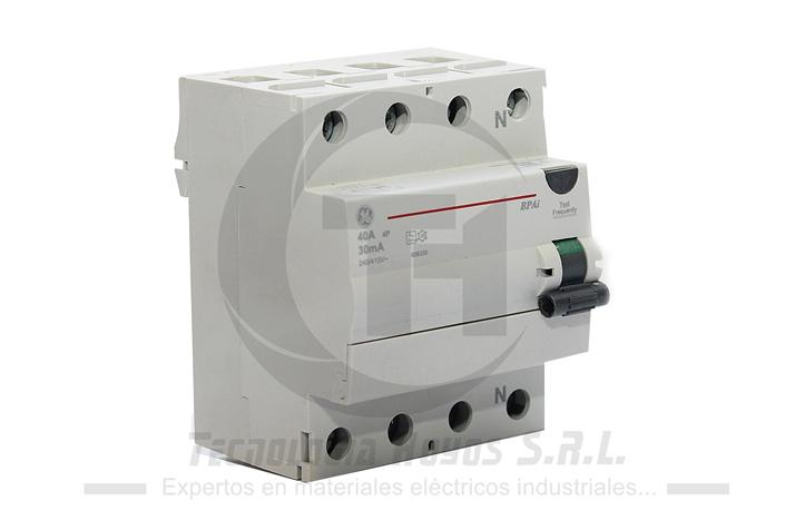 INT. DIFERENCIAL GE MODELO BPAI 4X40 AMP TETRAPOLAR
