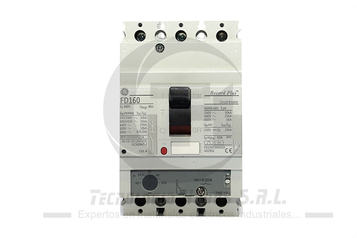 INT. FUERZA REGULABLE GE MODELO FDS 50- 63 AMP TRIFASICO